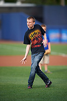 Actor Jeremy Ambler, who appeared on the show The Walking Dead as a zombie heads to the mound to throw out out the ceremonial first pitch before a game against the Mahoning Valley Scrappers on July 8, 2017 at BB&T Ballpark at Historic Bowman Field in Williamsport, Pennsylvania.  Williamsport defeated Mahoning Valley 6-1.  (Mike Janes/Four Seam Images)