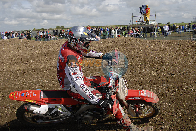 Marc De Reuver (NED) rounds a tight corner in the MX1 Grand Prix Race1 during the Motocross Grand Prix at Fairyhouse Race Course, Co.Meath, Ireland, 31st August 2008.(Photo Eoin Clarke/Newsfile)