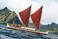 Hawaiian sailing canoe Hokule'a on its statewide sail leg from Hakupu'u to La'ie, O'ahu, with master navigator Nainoa Thompson as lead, the morning of October 11, 2013. Contact PRH for permission to use this photo.