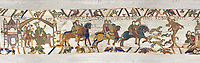 11the Century Medieval Bayeux Tapestry - Scene 1 - Edward the Confessor sends Harold to inform William that he will succeed to the throne of England. Scene 2 - Harold proceeeds to the coast with a pack of Hounds