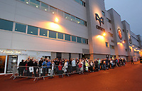 Pictured: Queues outside the Liberty stadium for the signing of copies of the new Swansea City FC calendar, Swansea south Wales. Thursday 02 december 2011<br /> Re: