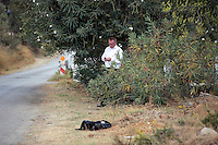 Pictured: Daily Mirror reporter Andy Lines at the second site in Kos, Greece. Thursday 13 October 2016<br />Re: Police teams led by South Yorkshire Police are searching for missing toddler Ben Needham on the Greek island of Kos.<br />Ben, from Sheffield, was 21 months old when he disappeared on 24 July 1991 during a family holiday.<br />Digging has begun at a new site after a fresh line of inquiry suggested he could have been crushed by a digger.