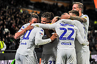 Leeds United swamp gfoalscorer Leeds United's forward Tyler Roberts (11) during the Sky Bet Championship match between Hull City and Leeds United at the KC Stadium, Kingston upon Hull, England on 2 October 2018. Photo by Stephen Buckley/PRiME Media Images.