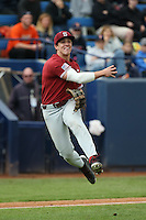 Mikey Diekroeger #1 of the Stanford Cardinal throws to first base during a game against the Cal State Fullerton Titans at Goodwin Field on February 19, 2017 in Fullerton, California. Stanford defeated Cal State Fullerton, 8-7. (Larry Goren/Four Seam Images)