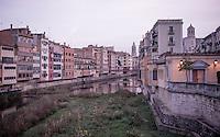 The landmark houses of Girona/Spain before sunrise