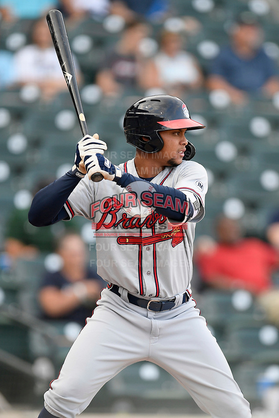Third baseman Derian Cruz (66) of the Rome Braves bats in a game against the Columbia Fireflies on Tuesday, June 4, 2019, at Segra Park in Columbia, South Carolina. Columbia won, 3-2. (Tom Priddy/Four Seam Images)