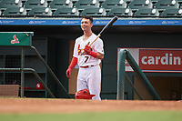 Palm Beach Cardinals Scott Hurst (7) during a Florida State League game against the Clearwater Threshers on August 11, 2019 at Roger Dean Chevrolet Stadium in Jupiter, Florida.  Palm Beach defeated Clearwater 4-1.  (Mike Janes/Four Seam Images)