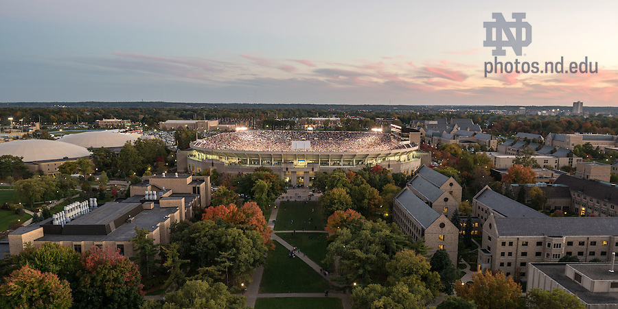Oct 11, 2014; Notre Dame Stadium at the end of the North Carolina game. (Photo by Matt Cashore)