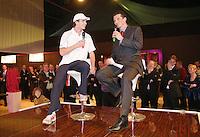 20-2-06, Netherlands, tennis, Rotterdam, ABNAMROWTT, Anthal van der Duim is being intervieuwd by the tournament director Richard Krajicek