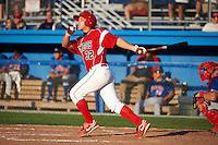 Batavia Muckdogs infielder Jacob Wilson #32 hits a home run during a NY-Penn League game against the Auburn Doubledays at Dwyer Stadium on September 2, 2012 in Batavia, New York.  Batavia defeated Auburn 8-7.  (Mike Janes/Four Seam Images)