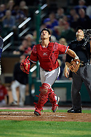 Rochester Red Wings catcher Anthony Recker (30) makes a play on a foul ball popup during the first game of a doubleheader against the Scranton/Wilkes-Barre RailRiders on August 23, 2017 at Frontier Field in Rochester, New York.  Rochester defeated Scranton 5-4 in a game that was originally started on August 22nd but postponed due to inclement weather.  (Mike Janes/Four Seam Images)