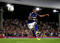 21st September 2021; Craven Cottage, Fulham, London, England; EFL Cup Football Fulham versus Leeds; Junior Firpo of Leeds United taking a penalty during the penalty shootout