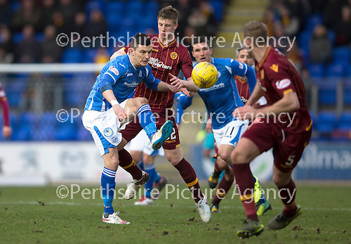 St Johnstone v Motherwell…20.02.16   SPFL   McDiarmid Park, Perth<br />Graham Cummins and Ben Hall<br />Picture by Graeme Hart.<br />Copyright Perthshire Picture Agency<br />Tel: 01738 623350  Mobile: 07990 594431