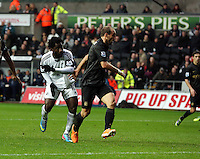 Wednesday, 01 January 2014<br /> Pictured: Wilfried Bony (L) of Swansea having just scored his equaliser, making the score 1-1.<br /> Re: Barclay's Premier League, Swansea City FC v Manchester City at the Liberty Stadium, south Wales.