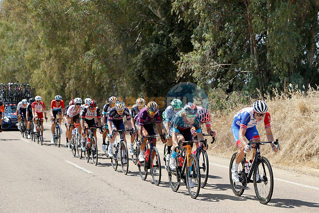 The 18 man breakaway during Stage 14 of La Vuelta d'Espana 2021, running 165.7km from Don Benito to Pico Villuercas, Spain. 28th August 2021.     <br /> Picture: Luis Angel Gomez/Photogomezsport | Cyclefile<br /> <br /> All photos usage must carry mandatory copyright credit (© Cyclefile | Luis Angel Gomez/Photogomezsport)