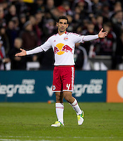 Rafa Marquez (4) of New York Red Bulls talks to a teammate during the game at RFK Stadium in Washington DC. D.C. United tied New York Red Bulls, 1-1.