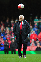 Pictured: Head Coach Warren Gatland of Wales during the pre match warm up for the Guinness six nations match between Wales and Ireland at the Principality Stadium, Cardiff, Wales, UK.<br /> Saturday 16 March 2019