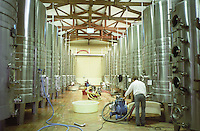 Fermentation tanks. Pumping over. Chateau la Tour de By, Medoc, Bordeaux, France