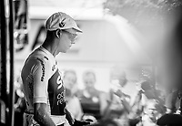 Chris Froome (GBR/Sky) pre race at the Sky teambus. <br /> <br /> Stage 7: Fougères > Chartres (231km)<br /> <br /> 105th Tour de France 2018<br /> ©kramon