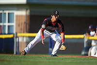 Batavia Muckdogs first baseman Brad Haynal (23) during a game against the Auburn Doubledays July 10, 2015 at Dwyer Stadium in Batavia, New York.  Auburn defeated Batavia 13-1.  (Mike Janes/Four Seam Images)