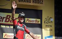 stage winner Greg Van Avermaet (BEL/BMC) on the podium<br /> <br /> stage 13: Muret - Rodez<br /> 2015 Tour de France