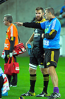 Hurricanes forwards coach Richard Watt talks to Mark Abbott during the Super Rugby match between the Hurricanes and Reds at Westpac Stadium, Wellington, New Zealand on Saturday, 14 May 2016. Photo: Dave Lintott / lintottphoto.co.nz
