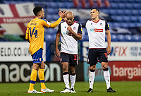 Bolton Wanderers' Antoni Sarcevic (right) shakes hands with Mansfield Town's James Perch (left) as Bolton Wanderers' Alex John-Baptiste looks on <br /> <br /> Photographer Andrew Kearns/CameraSport<br /> <br /> The EFL Sky Bet League Two - Bolton Wanderers v Mansfield Town - Tuesday 3rd November 2020 - University of Bolton Stadium - Bolton<br /> <br /> World Copyright © 2020 CameraSport. All rights reserved. 43 Linden Ave. Countesthorpe. Leicester. England. LE8 5PG - Tel: +44 (0) 116 277 4147 - admin@camerasport.com - www.camerasport.com