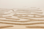 Fisherman floats between mud flats by Hao Jiang