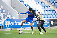 Courtney Senior, Colchester United is closely marshalled by Mo Touray, Marine AFC during Colchester United vs Marine, Emirates FA Cup Football at the JobServe Community Stadium on 7th November 2020