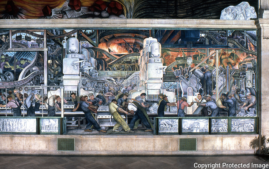 Detroit:   Detroit Industry, North Wall 1932-33. Diego M. Rivera 1886-1957. Detail.  Reference only.