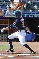 Durham Bulls outfielder Kyle Hudson #32 at bat during a game against the Louisville Bats at Durham Bulls Athletic Park on May 2, 2012 in Durham, North Carolina. Durham defeated Louisville by the score of 7-5. (Robert Gurganus/Four Seam Images)