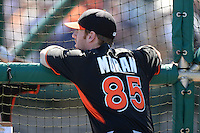 Miami Marlins third baseman Colin Moran (85) during practice before a spring training game against the Detroit Tigers on March 13, 2014 at Joker Marchant Stadium in Lakeland, Florida.  Miami defeated Detroit 4-2.  (Mike Janes/Four Seam Images)