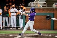 LSU Tigers designated hitter Cade Beloso (24) at bat against the Tennessee Volunteers on Robert M. Lindsay Field at Lindsey Nelson Stadium on March 27, 2021, in Knoxville, Tennessee. (Danny Parker/Four Seam Images)