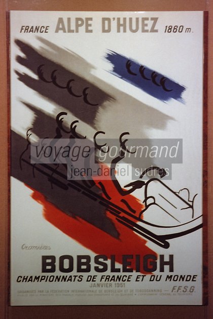 Europe/France/Rhône-Alpes/38/Isère/l'Alpe-d'Huez: Musée d'Huez et de l'Oisans- Vieille affiche sur la station et le bobsleigh