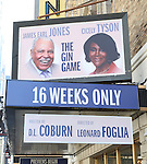 'The Gin Game' gets a new photo illustrated theatre Marquee starring James Earl Jones and Cicely Tyson  at the John Golden Theatre on September 17, 2015 in New York City.