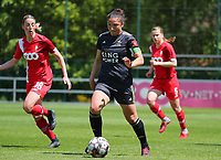 Sara Yuceil (13) of OHL with the ball during a female soccer game between Standard Femina de Liege and Oud Heverlee Leuven on the 10th and last matchday in play off 1 of the 2020 - 2021 season of Belgian Scooore Womens Super League , saturday 29 th of May 2021  in Angleur , Belgium . PHOTO SPORTPIX.BE   SPP   SEVIL OKTEM