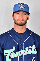 Asheville Tourists outfielder Cade Harris (4) during media day at McCormick Field on April 2, 2019 in Asheville, North Carolina. (Tony Farlow/Four Seam Images)