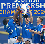 15.05.2021 Rangers v Aberdeen: Filip Helander with the SPFL Premiership league trophy