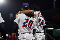 Jacksonville Jumbo Shrimp Sixto Sanchez (43) and J.C. Millan (20) during a Southern League game against the Mobile BayBears on May 28, 2019 at Baseball Grounds of Jacksonville in Jacksonville, Florida.  Mobile defeated Jacksonville 2-1.  (Mike Janes/Four Seam Images)