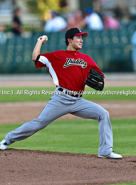 El Paso Diablos Pitcher Jae Jung (18) in action during the American Association of Independant Professional Baseball game between the El Paso Diablos and the Fort Worth Cats at the historic LaGrave Baseball Field in Fort Worth, Tx. Fort Worth defeats El Paso 10 to 9.
