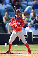 Philadelphia Phillies shortstop Ronny Cedeno (7) during a spring training game against the New York Yankees on March 1, 2014 at Steinbrenner Field in Tampa, Florida.  New York defeated Philadelphia 4-0.  (Mike Janes/Four Seam Images)