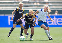 Boston Breakers Stacy Bishop and LA Sol's Aly Wagner chase a loose ball. The Boston Breakers and LA Sol played to a 0-0 draw at Home Depot Center stadium in Carson, California on Sunday May 10, 2009.   .