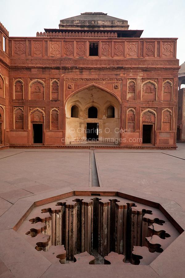 Agra, India.  Agra Fort, Jahangiri Mahal.  Octagonal Fountain, Islamic Arches.