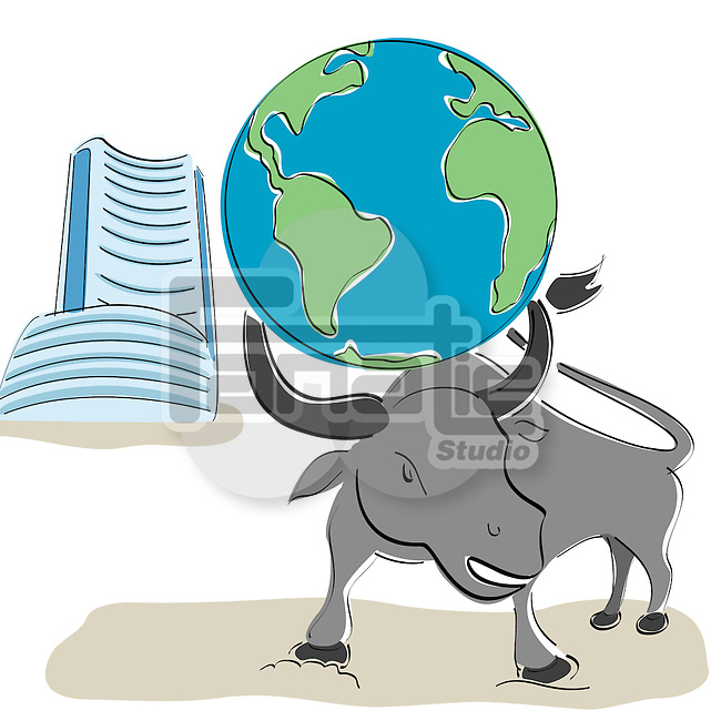 Globe on bull's head with Bombay stock exchange building in the background