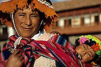 Cuzco, Peru - Quechua Woman and Baby, Colorful Dress