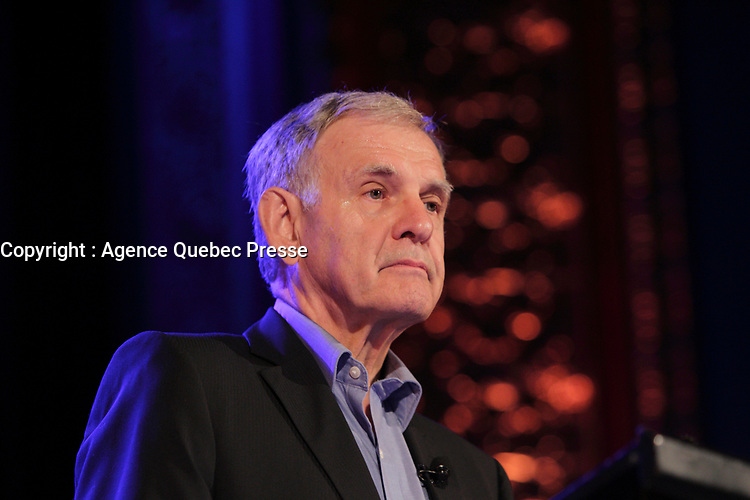 September 15, 2013 File Photo - Marcel Cote, leader, Coalition Montreal adress his partisans, during the electoral campaign<br /> Marcel Cote just passes away today May 25, 2014 of cardiac arrest while taking part in a fundraiser race.<br /> <br /> File Photo : Agence Quebec Presse