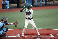 Austin Knight (14) of the Charlotte 49ers at bat against the Old Dominion Monarchs at Hayes Stadium on April 25, 2021 in Charlotte, North Carolina. (Brian Westerholt/Four Seam Images)