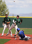 Palo Verde's Peyton Cole, left, watches as Nathan Bartlett turns a double play against Basic to win the NIAA 4A baseball championship game in Reno, Nev., on Saturday, May 19, 2018. Palo Verde won 4-2. Basic's Seth Reed was out on the play. Cathleen Allison/Las Vegas Review-Journal