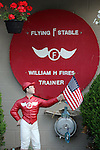 """LOUISVILLE, KY - APRIL 25: Lawn jockey and sign decorating the barn of William """"Jinks"""" Fires, trainer of Kentucky Derby contender Discreetness. (Photo by Mary M. Meek/Eclipse Sportswire/Getty Images)"""