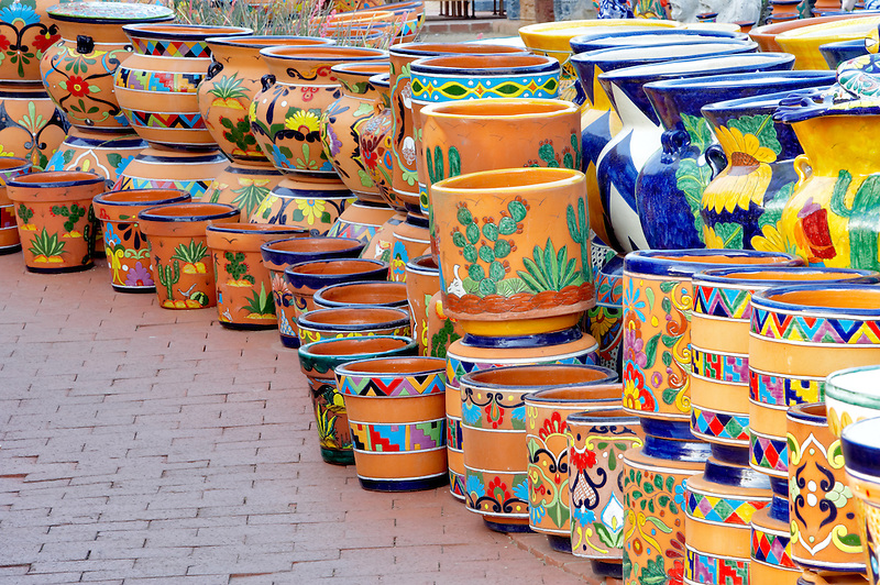 colorful pot display. Tubac. Arizona